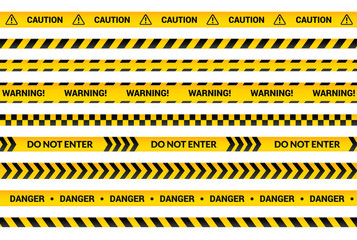 Caution tape set, yellow warning strips, danger symbol, arrows, yellow lines with black text and triangle sign. Flat banner isolated collection with attention message, vector illustration. Wall mural
