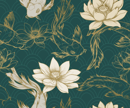 Seamless pattern with koi carps and lotuses