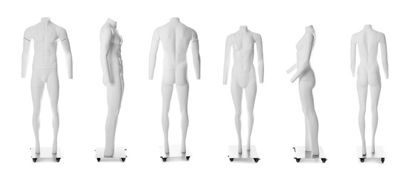 Set of ghost headless mannequins with removable pieces on white background