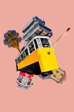Modern art collage with a tram and things that can be seen in Lisbon.