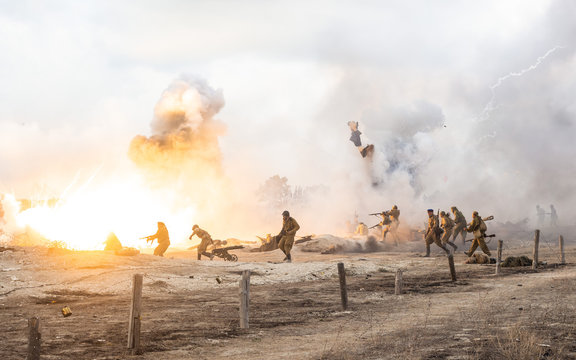 Reconstruction of the battle of the second world war. Battle for Sevastopol. Reconstruction of the battle with explosions