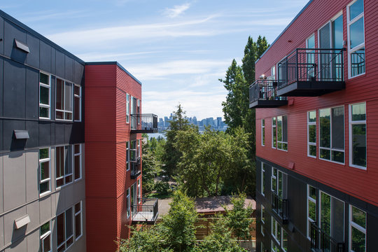 Black and red apartment complex in Seattle, Washington, USA