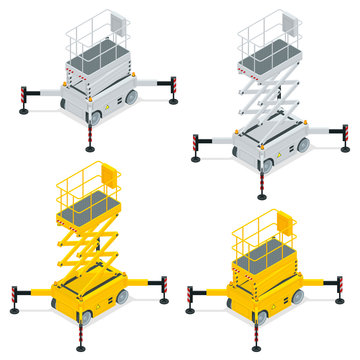 Isometric Yellow Engine Powered Scissor Lift isolated on white background. Vector illustration in a flat style. Modern Truck-mounted.