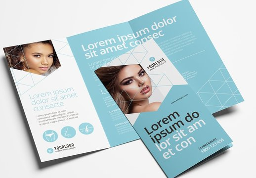 Trifold Brochure Layout for Cosmetic Clinics