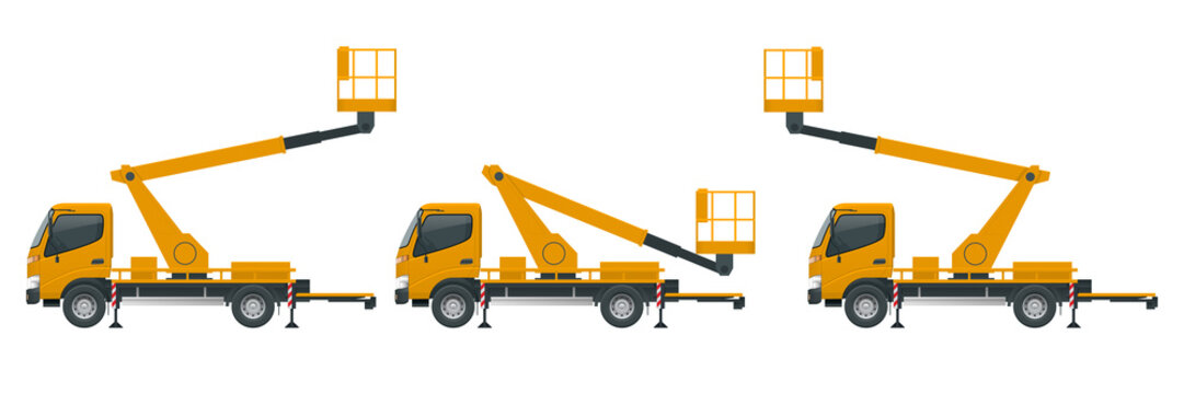 Yellow Engine Powered Scissor Lift isolated on white background. Vector illustration in a flat style. Modern Truck-mounted.