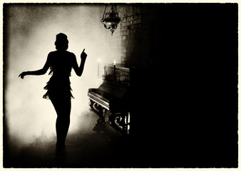 old fashioned photography. Dark mysterious silhouette retro woman style Great Gatsby. Girl dancing...