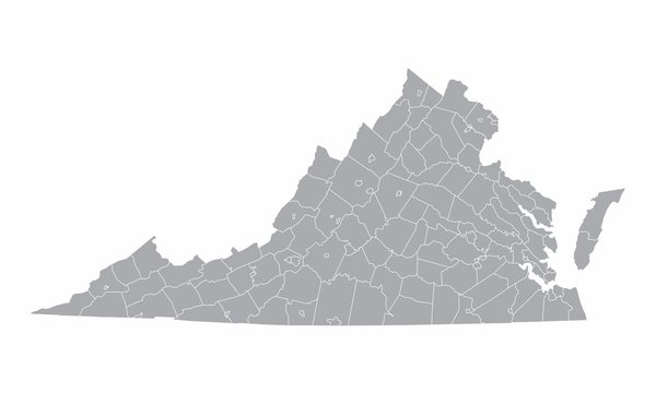 The Virginia State counties map isolated on white background