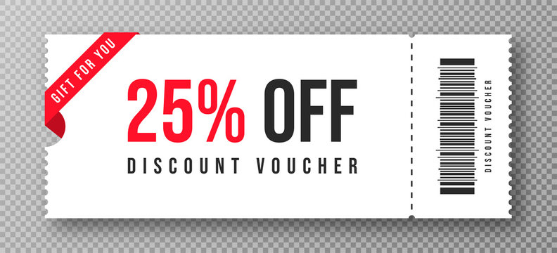 Discount voucher, gift coupon template with ruffle edges. White coupon mockup with 25 percent off