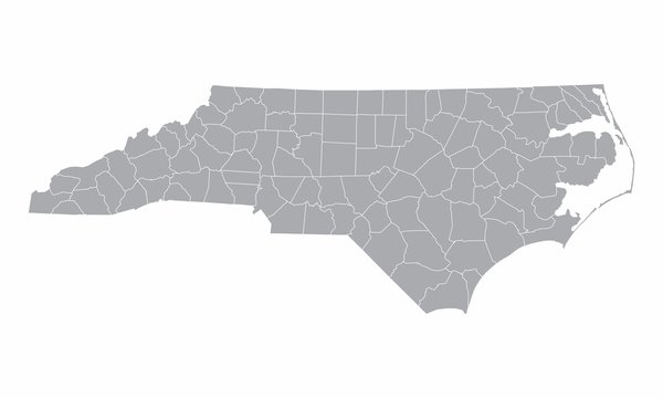 The North Carolina counties map isolated on white background