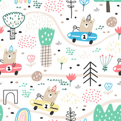 Cute seamless pattern with funny bear driver. Perfect for kids apparel, fabric, textile, nursery decoration, wrapping paper. Childish vector background. Summer background.