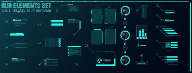Obraz Futuristic Vector HUD Interface Screen Design. Digital callouts titles. HUD UI GUI futuristic user interface screen elements set. High tech screen for video game. Sci-fi concept design. - fototapety do salonu