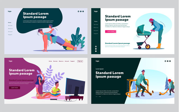 Family outdoor activities set. Parents and children walking, exercising, playing sport, video games. Flat vector illustrations. Leisure, family concept for banner, website design or landing web page