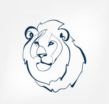 lion vector animal wild one line design