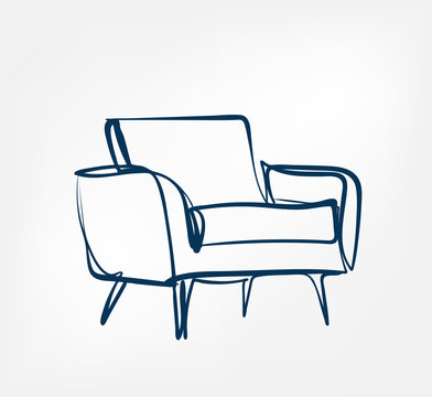 armchair one line vector design element isolated