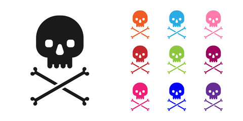 Black Skull on crossbones icon isolated on white background. Set icons colorful. Vector Illustration