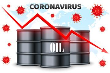 Coronavirus and oil price drop. World financial crisis. Vector illustration