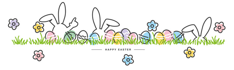 Easter line design bunny flowers colorful eggs in grass Easter egg hunt white greeting card