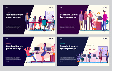 Corporate brainstorming set. Group of colleagues discussing project, sharing ideas. Flat vector illustrations. Business, teamwork, cooperation concept for banner, website design or landing web page