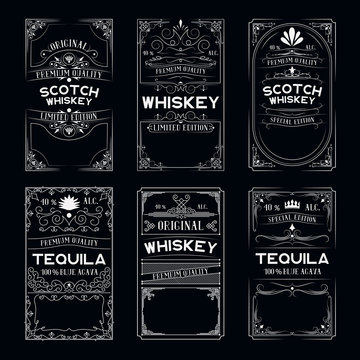 Vintage ornate labels set with lettering for irish pub. Hand drawn premium alcohol frames for scotch, whiskey, tequila bottles in drink bar.