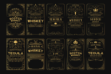 Set of golden alcohol labels. Vintage gold scotch, whiskey, tequila, rum frames for bottle with lettering.