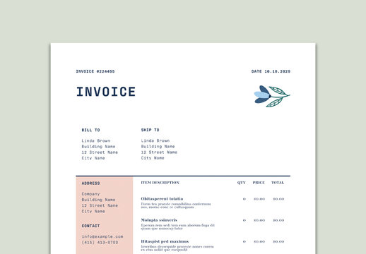 Invoice Layout with Floral Illustrations