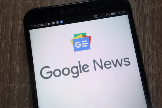 KONSKIE, POLAND - SEPTEMBER 07, 2018: Google News logo displayed on a modern smartphone