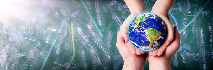Wall Murals Nasa Caring Hands Of Man And Woman Protecting Earth From Plastic Pollution - Earth Day / Care For The Environment Concept - Some Elements Of This Image Were Provided By NASA