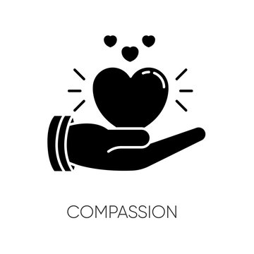 Compassion black glyph icon. Emotional support, friendly sympathy. Empathy, solidarity silhouette symbol on white space. Voluntary care, charitable help. Vector isolated illustration