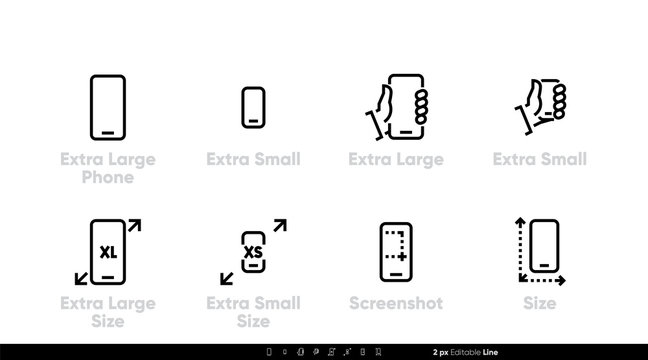 Phone, different sizes and specifications. Large, small and extra large sizes and screenshot icons, Editable line vector set
