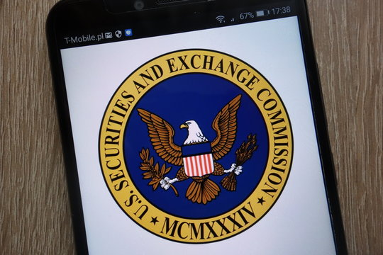 KONSKIE, POLAND - SEPTEMBER 06, 2018: U.S. Securities and Exchange Commission logo displayed on a modern smartphone