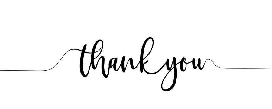 Thank You Hand Lettering. Typography Design Inspiration. Black colored. On a white background. Vector