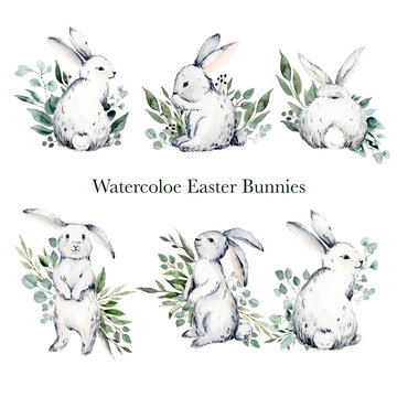 Watercolor easter bunnies and green leaves