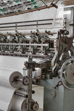 Quilting machine, mattress production in the factory.
