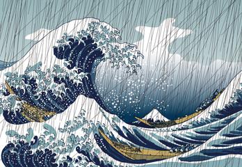 神奈川沖浪裏 雨バージョン