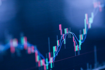Stock exchange market chart, Stock market data on LED display. Business analysis concept. Fototapete