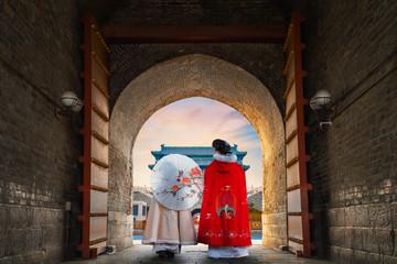 The Archery Tower of Qianmen or Zhengyangmen Gate in Beijing, China