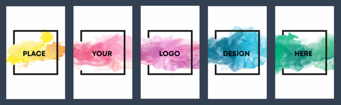 Watercolor background over square frame vector design headline, logo and sale banner template set