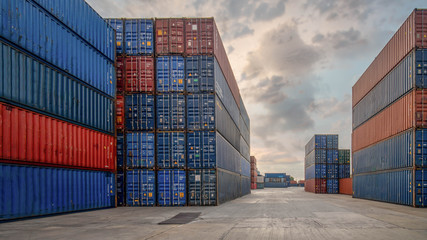 perspective view of containers at containers yard with forklift and truck Wall mural