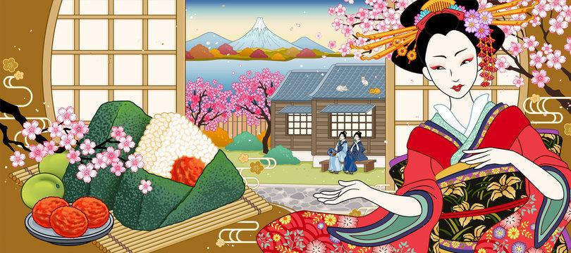 ukiyo-e style rice ball ads