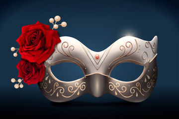 Isolated silver masquerade mask