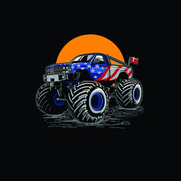 Adventure off road monster truck illustration