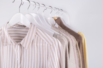 Wall Mural - Spring clothes hanging on a rack