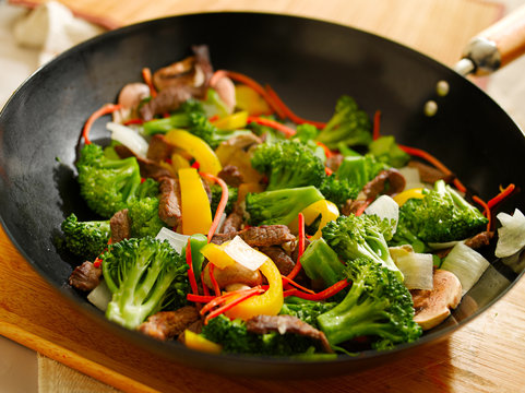 wok with stir fry vegetables