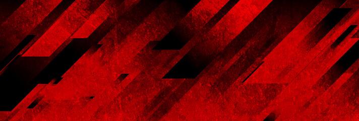 Dark red grunge stripes abstract banner design. Geometric tech vector background Fototapete