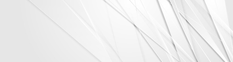 Grey glossy stripes abstract tech corporate background. Vector banner design Fototapete