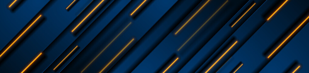Dark blue geometric banner design with orange neon laser lines. Technology vector background Fotomurales