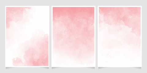 pink watercolor wet wash splash 5x7 invitation card background template collection