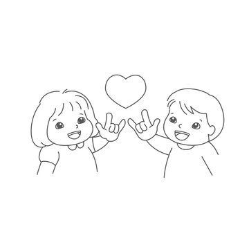"""little boy and girl show their hand, the sign hand language """"I love you"""". Deaf english basic words in line art isolated on white background. vector"""