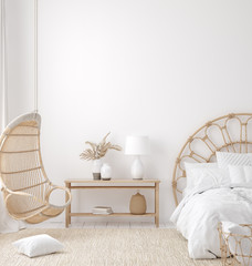 Wall Mural - Coastal boho style bedroom interior, wall mockup, 3d render