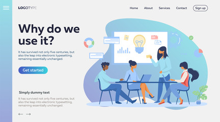 Business team discussing ideas for startup. Leader speaking at board with notes and lightbulb flat vector illustration. Corporate meeting concept for banner, website design or landing web page